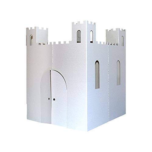 Easy Playhouse Blank Castle - Kids Art & Craft for Indoor & Outdoor Fun, Color, Draw, Doodle on this Blank Canvas – Decorate & Personalize a Cardboard Fort, 32' X 32' X 43. 5' - Made in USA, Age 2+
