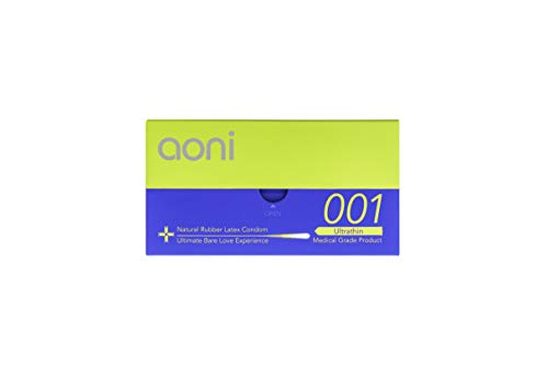 Aoni Condoms - Ultrathin 001 12 PCS - Achived World's Thinnest Latex Condoms - Premium 001 Series - Water Based Lubricant