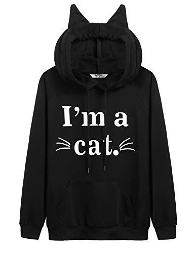 Beyove Women's Black Cat Sweatshirts Funny Hoodies Cute Shirts with Pocket (Black_Cat,M)