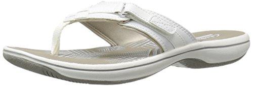 Clarks Women's Breeze Sea Flip Flop, New White Synthetic, 10 B(M) US