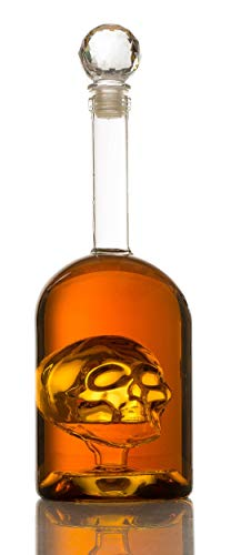 Skull Decanter in Bottler Skull Head by The Wine Savant 750ml, Skull Bottle Skull face Enlarges with Whiskey, Tequila, Bourbon Scotch or Rum - Great Gift For Any Bar!