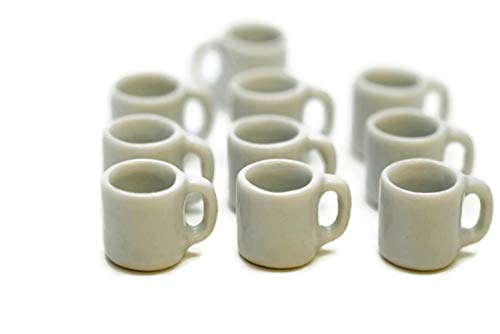 ChangThai Design 10 White Ceramic Coffee Mug Tea Cup Dollhouse Miniatures Food Kitchen