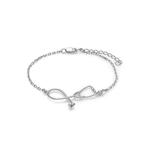 Dcfywl731 Silver Nurse Bracelet for Women Stethoscope Pendant Doctor Nurse Graducation (Silver Bracelet)