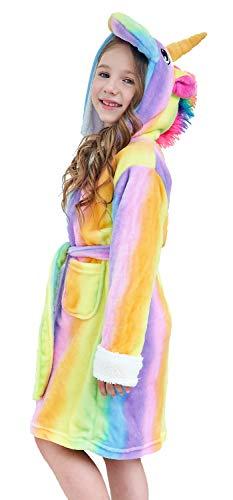 Plush Hooded Robe for Kids, Soft Fleece Bathrobe for Girls ans Boys Sleepwear (Rainbow, 4-5 Years)