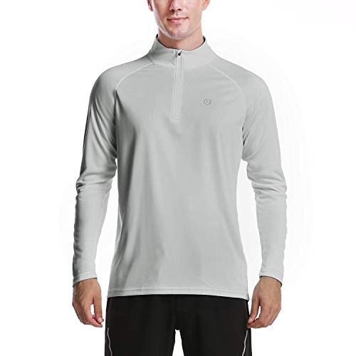 DAYOUNG Mens Zip Pullover UPF 50+ Sun Protection Long Sleeve Running Hiking Workout Fishing Outdoors Performance T-Shirt Athletic Top YWT12 Light Grey XL