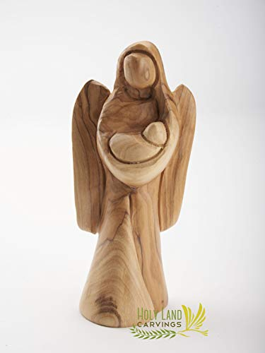 Olive Wood Angel Figurine Holding Baby Made in The Holy Land - Gift for Expectant Mothers, New Baby, Baby Shower, Baptism or Any Occasion (5.5 Inches Long)