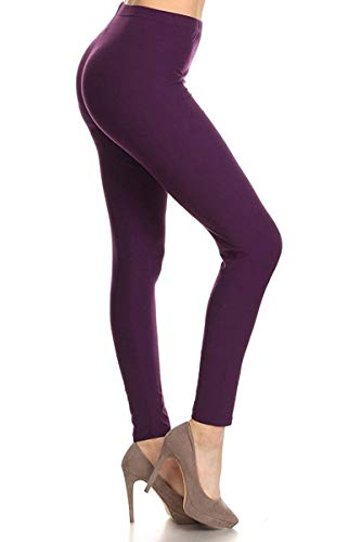 LDR128-Purple Basic Solid Leggings, One Size