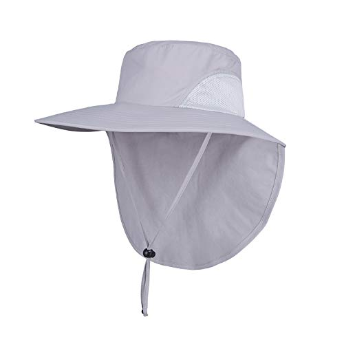Orolay Unisex Outdoor Hats Sun Protection Fishing Hat Wide Brim Neck Flap UPF 50+ Lightgrey