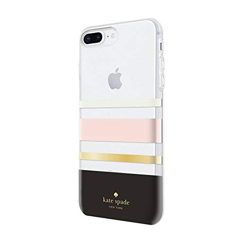 kate spade new york Flexible Hardshell Case for iPhone 8 Plus & iPhone 7 Plus - Charlotte Stripe Black/Cream/Blush/Gold Foil/Clear