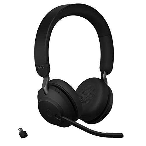 Jabra Evolve2 65 MS Wireless Headphones with Link380c, Stereo, Black – Wireless Bluetooth Headset for Calls and Music, 37 Hours of Battery Life, Passive Noise Cancelling Headphones