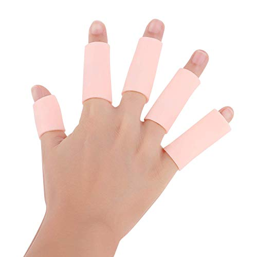 Holiberty Finger Sleeves Protectors, Gel Finger Cots, Sporting Style Silicone Thumb Finger Caps Covers Gloved Protection for Trigger Finger, Hand Eczema, Finger Cracking-10pcs