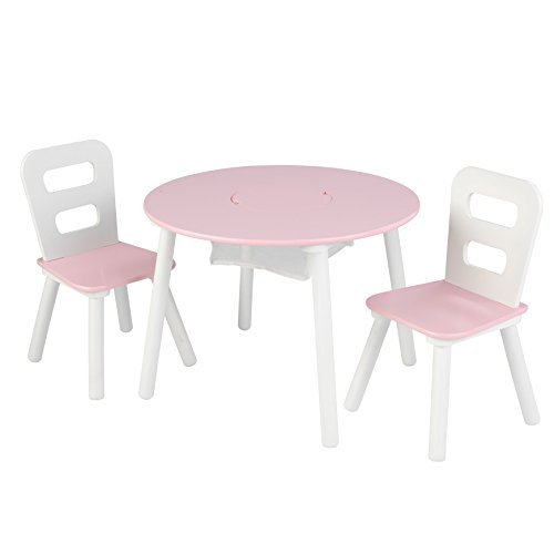 KidKraft 26165 Wooden Round Table & 2 Chair Set with Center Mesh Storage - Pink & White, 26' x 27' x 3.5'