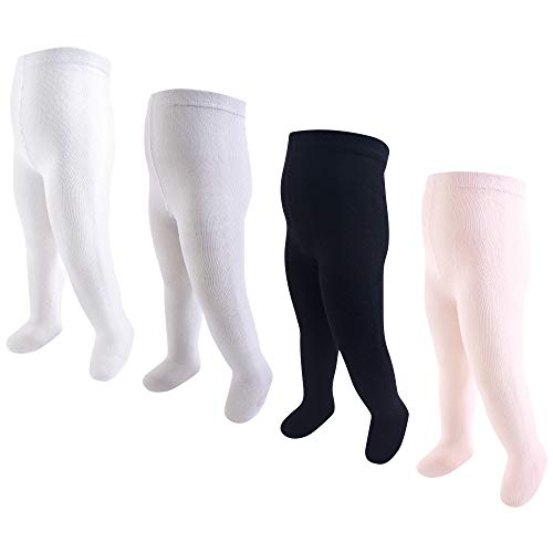 Touched by Nature Girls' Organic Cotton Tights, Lt. Pink Black, 9-18 Months