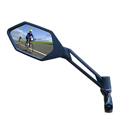 New Scratch Resistant Glass Lens,Handlebar Bike Mirror, Adjustable Safe Rearview Mirror, Bicycle Mirror (Blue Left Side) ME-005LB
