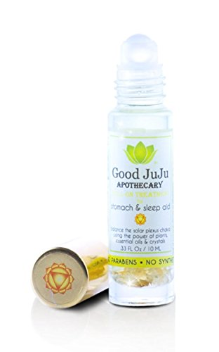 All Natural Sleep Easy Organic Tummy Rub Roll On Oil. Natural Stomach and Stress Relief. Citrine Crystals, Organic Chamomile and Lavender. Soothes Heartburn, Insomnia and Colic. Safe for Babies