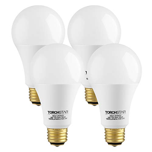 TORCHSTAR 40/60/100W Equivalent 3-Way A21 LED Light Bulb, Energy Star & UL-Listed, E26 Base for Table Lamp, Bedside Lamp, Floor Lamp, 3 Years Warranty, 2700K Soft White, Pack of 4