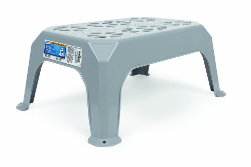 Camco Durable Large Step Stool - Textured Platform Surface to Help Prevent Slipping |Lightweight & Sturdy | Design Excellent for RVs, Trailers, Trucks| 400 lb. Capacity | 23' x 16' x 9 ¼' - Gray (43470)