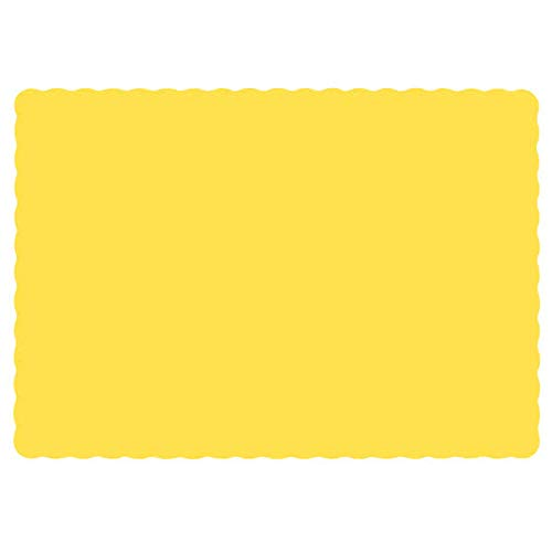 Paper Placemats for Dining Table – Disposable Scalloped Edges Color Table Mats great for Parties and Christmas Table Decorations 10'x14' ( Yellow ) 50ct