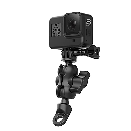 TELESIN 360° Motorcycle Rearview Mirror Clamp Mount Holder, Screw Fixed Bracket Compatible with GoPro Max Hero 9 8 7 6 5 4, DJI Osmo Action, Insta 360 One R (Fits 0.4 inch/1cm Diameter)