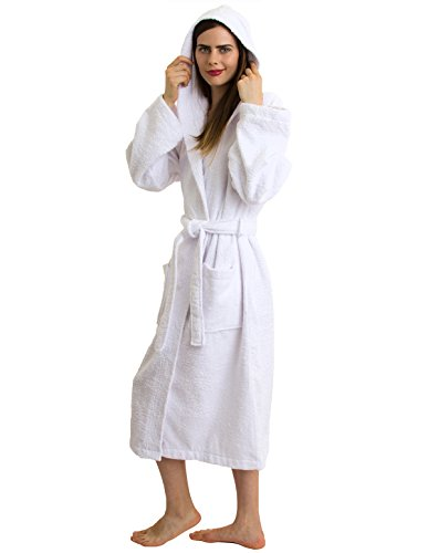 TowelSelections Women's Robe Turkish Cotton Hooded Terry Bathrobe Medium/Large White