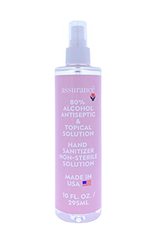 Assurance - Hand Sanitizer Spray, 80% Alcohol Antiseptic, Topical Non-Sterile Solution - Kills Germs, Fasting Acting, Portable - Made In The USA & Compliant with FDA Guidelines, Family Safe- 10 fl oz