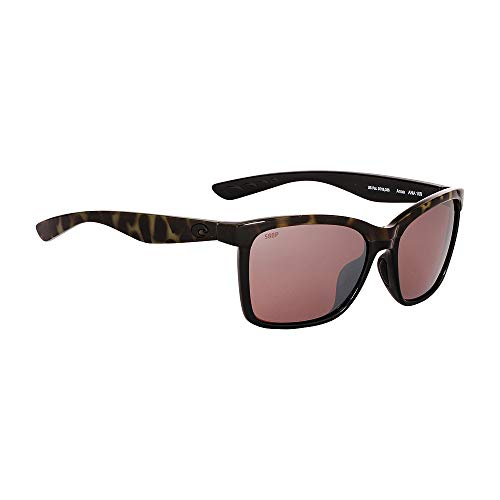 Costa Del Mar Women's Anaa Rectangular Sunglasses, Shiny Olive Tortoise on Black/Silver Mirror-580P, 55 mm
