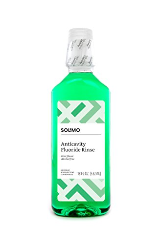 Amazon Brand - Solimo Anticavity Fluoride Rinse, Alcohol Free, Mint, 18 Fluid Ounces
