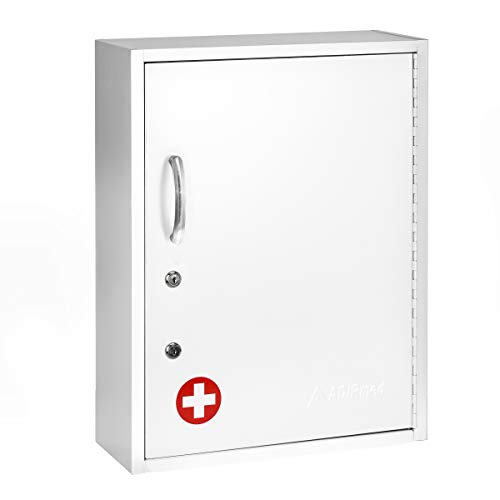 AdirMed Medicine Cabinet with Pull-Out Shelf & Document Pocket - Large Dual Lock Wall Mounted Steel Medical Organizer - Safe and Secure Storage for Medicine First Aid and Emergency Kit (White)