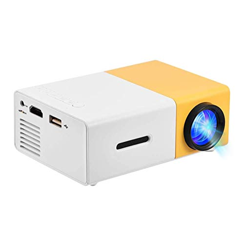 Mini Projector, Built-in Stereo Speaker Portable Multimedia Home Theater Projector with HDMI/AV/USB Interface 320x240 Resolution (White-Yellow)