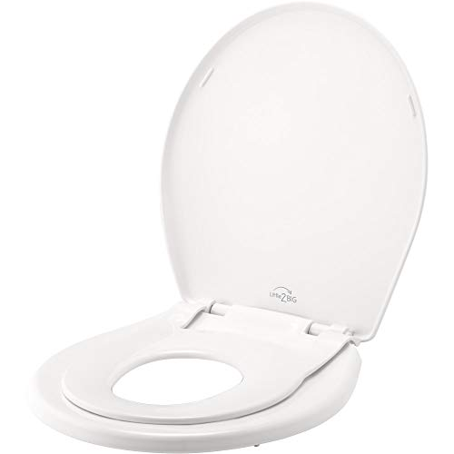 Little2Big 81SLOW 000 Toilet Seat with Built-In Potty Training Seat, Slow-Close, and will Never Loosen, ROUND, White