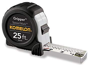 Komelon SM5425 Speed Mark Gripper Acrylic Coated Steel Blade Measuring Tape, 1-Inch X 25Ft, White | Premium Pack