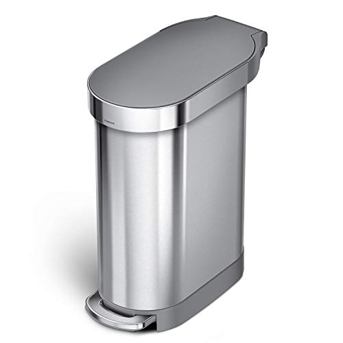 simplehuman 45 Liter / 12 Gallon Slim Hands-Free Kitchen Step Trash Can with Liner Rim, Brushed Stainless Steel with Plastic Lid