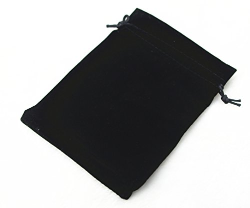 Pack of 25 Velvet Gift Bags Drawstring Jewelry Pouches Candy Bags Wedding Favors (6' X 4', Black)