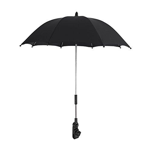 Baby Pram Umbrella, Portable Kids Stroller Sunshade Umbrella Infant Pushchair Wheelchair Parasol with Universal Umbrella Holder Clip Clamp, Black
