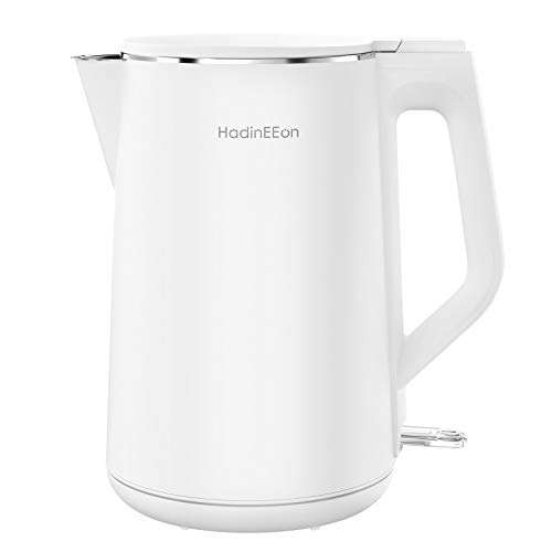 HadinEEon Electric Kettle 1.5L, 100% Stainless Steel Interior Double Wall Electric Tea Kettle, 1500W Cool Touch Water Kettle, BPA-Free with Auto Shut-Off & Boil-Dry Protection, Cordless, 120V