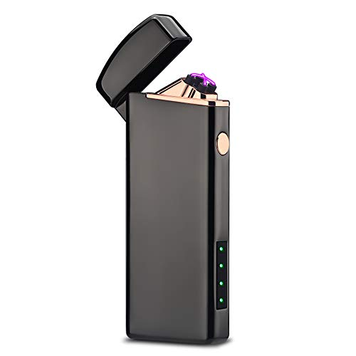 Windproof Arc Lighter X Plasma Lighters Rechargeable USB Lighter Electric Lighter for Candle-with LED Display Power (Black)