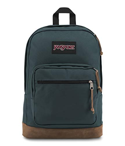 JanSport Right Pack Backpack - School, Travel, Work, or Laptop Bookbag with Leather Bottom, Dark Slate