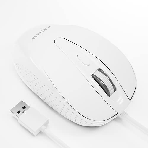 Macally USB Wired Mouse with 3 Button, Scroll Wheel, & 5 Foot Long Cord, USB Mouse for Laptop and Desktop, Computer Mouse Compatible with Apple Macbook Pro / Air, iMac, Mac Mini, & Windows PC (TURBO)