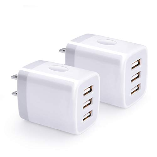 USB Wall Charger, Hootek 2Pack USB Wall Plug 3-Port Charging Box 3.1A Power Adapter Multi Port Quick Charger Block Cube Compatible iPhone 11 Pro XS MAX XR X 8 7 6 Plus, iPad, Samsung Galaxy S20 FE, LG
