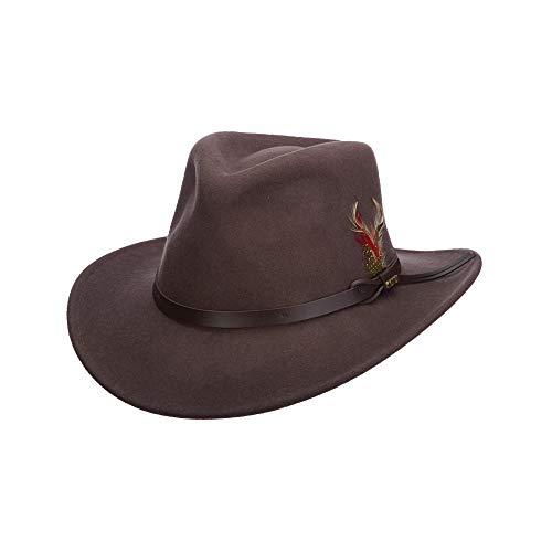 Scala Men's Crushable Felt Outback, Chocolate, XX-Large