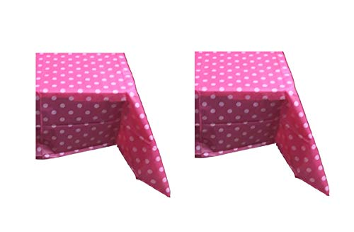 Sweet Online Deal Premium Plastic Table Cover Hot Pink & White Plaid Polka Dots 54 x 108 Inch Rectangular – 2 Pack Tablecloths (HOT Pink)