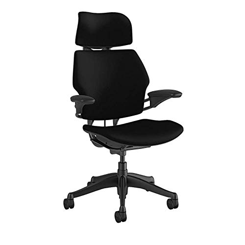 Humanscale Freedom Task Chair with Headrest   Graphite Frame, Corde 4 Black Fabric Seat   Height-Adjustable Duron Arms   Standard Foam Seat, Hard Casters, and 5' Cylinder