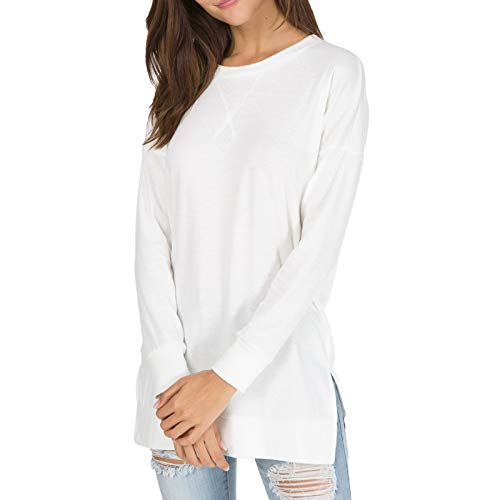 Womens Fall Long Sleeve Sweatshirt Side Split Loose Casual Tunic Tops White XL
