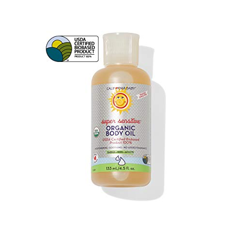 California Baby Super Sensitive Certified Organic Body Oil (4.5oz) This unscented massage oil is safe for even the most sensitive skin! Made with organic, non-GMO, cold pressed oils that will leave your skin feeling satiny soft and non-greasy.