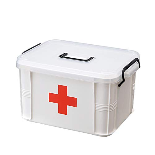 First Aid Box Organizer, Empty Medicine Box Organizer Storage, Plastic Storage Container Portable Emergency First Aid Kit for Home Travel