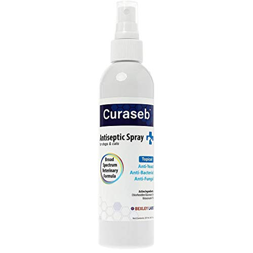 Curaseb Antifungal & Antibacterial Chlorhexidine Spray for Dogs & Cats - Treats Yeast Infections, Hot Spots, Ringworm & Pyoderma – Anti Itch with Soothing Aloe - Broad Spectrum Veterinary Formula