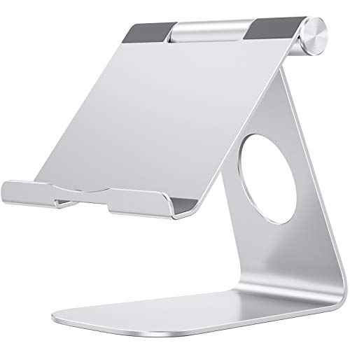 Tablet Stand Holder Adjustable, OMOTON T1 iPad Stand, Desktop Aluminum Tablet Dock Cradle Compatible with iPad Air 4/Mini, New iPad 10.2/9.7, iPad Pro 11/12.9, Samsung, Nintendo and More, Silver