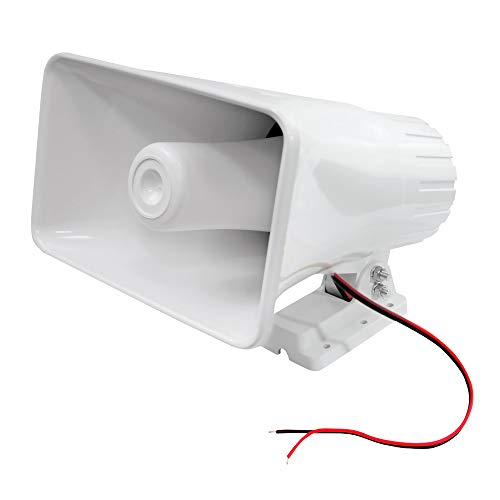 """Indoor/Outdoor PA Horn Speaker - 8"""" Portable PA Speaker with 8 Ohms Impedance & 65 Watts Peak Power - Mounting Bracket & Hardware Included - Pyle PHSP5, White"""