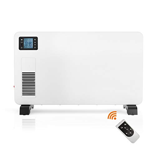 Tangkula 1500W Convector Heater, Portable Silent Electric Space Heater with Turbo Fan, 3 Heating Settings, 24H Timer, LCD Display, Remote Control, Overheat Protection, Wall Mounting Heater