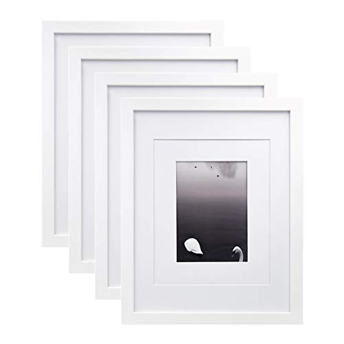 Egofine 11x14 Picture Frames Made of Solid Wood 4 PCS White - for Table Top and Wall Mounting for Pictures 8x10/5x7 with Mat Horizontally or Vertically Display Photo Frame White